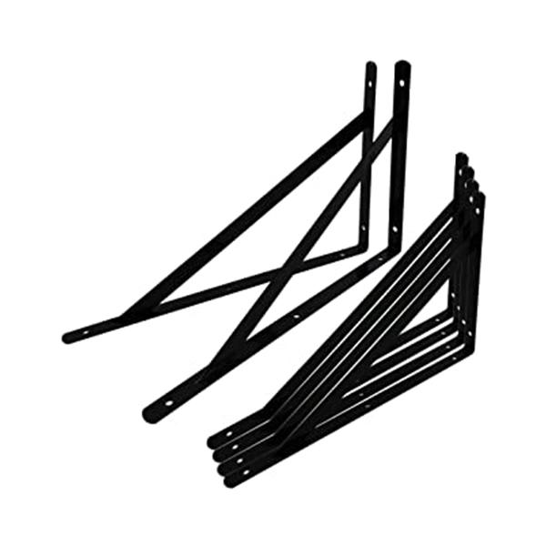 棚づくりDIY 棚受け金具 L字型 6本セット (300×190×16mm, ブラック)
